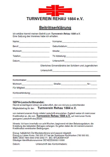 Beitrittserklärung - TV Rehau 1884